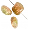 Glass Bead Cracked 13x15mm Str Flat Nugget Two-Tone Green/Brown